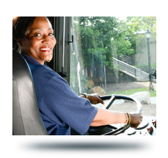 Greenlink bus driver, sitting in the driver's seat