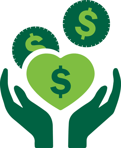 Grant program logo showing open hands and hearts