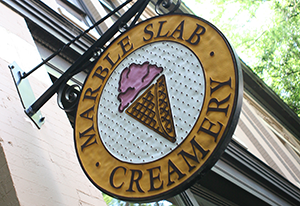 Sign for Marble Slab ice cream shop