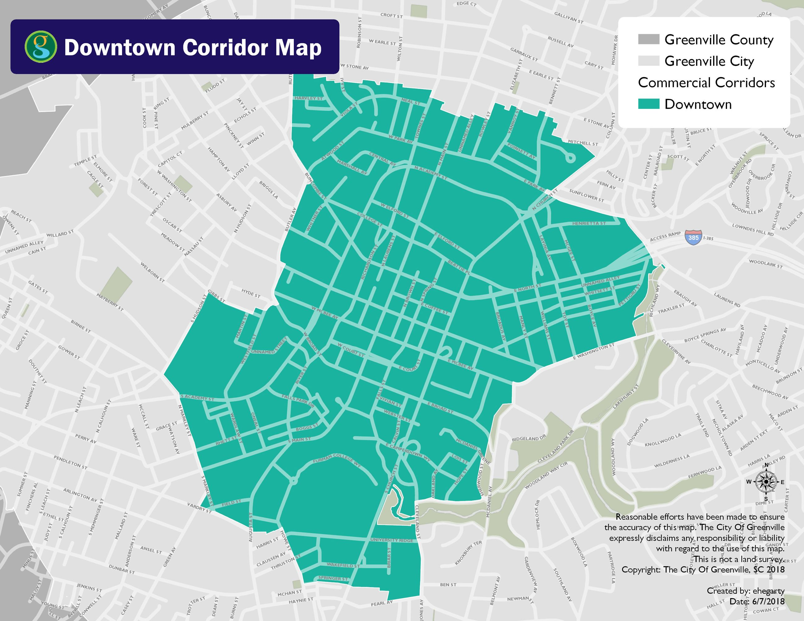 Map of the city limits of Downtown Greenville, South Carolina Opens in new window